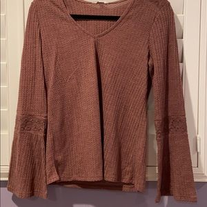 Lucky Brand Mauve bell sleeves top